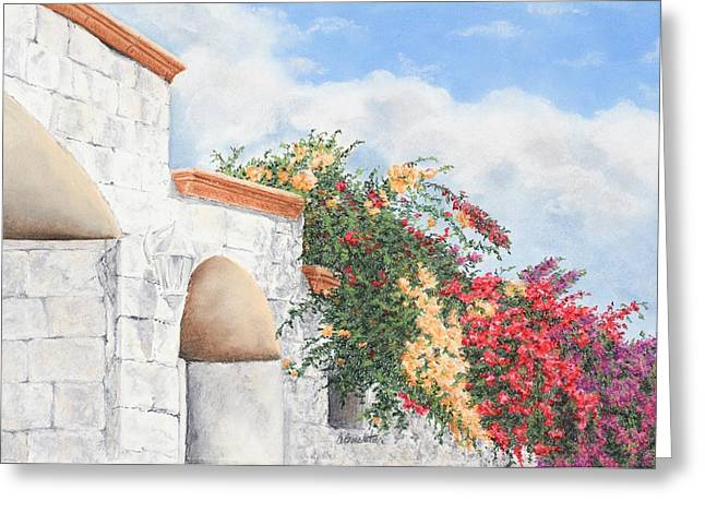 Brick Wall Pastels Greeting Cards - Cozumel Color Greeting Card by Angela Bruskotter