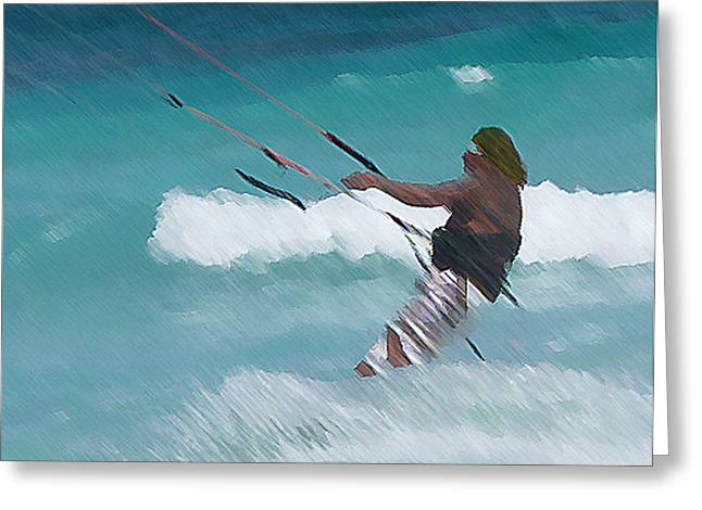 Recently Sold -  - Kite Boarding Greeting Cards - Cozumel Kiting Greeting Card by Carol McCutcheon