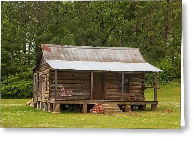 Log Cabins Greeting Cards - Cozy Cabin in Alabama Greeting Card by Mountain Dreams
