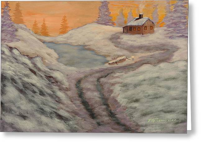 Chimney With Smoke Greeting Cards - Cozy Cabin Greeting Card by Michael Brumbeloe