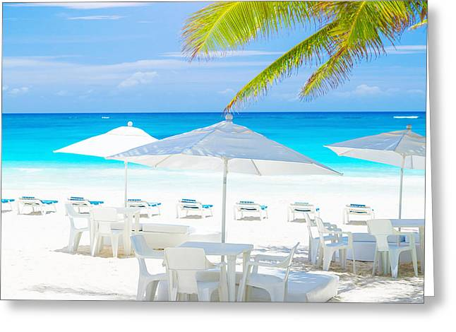 Sunbed Greeting Cards - Cozy cafe on sea shore Greeting Card by Anna Omelchenko