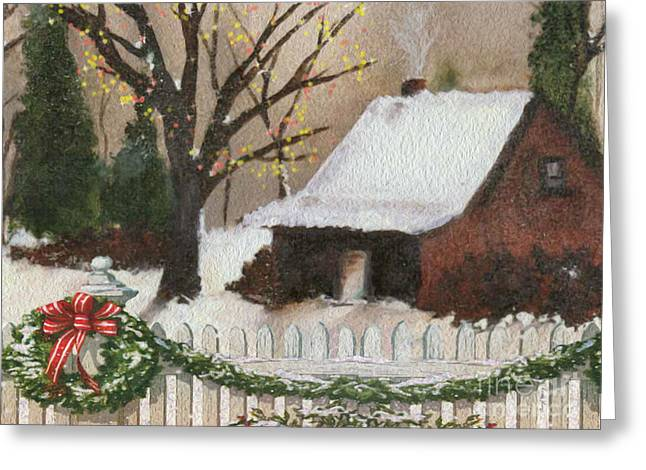 Cozy Cottage Greeting Card by Cheryl Young