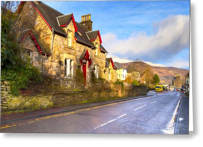 Cozy Cottage In A Scottish Village Greeting Card by Mark E Tisdale