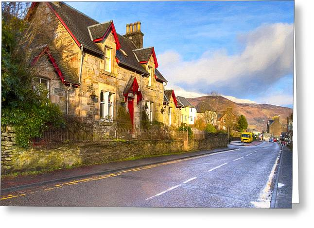 Cozy Cottage In A Scottish Village Greeting Card by Mark Tisdale
