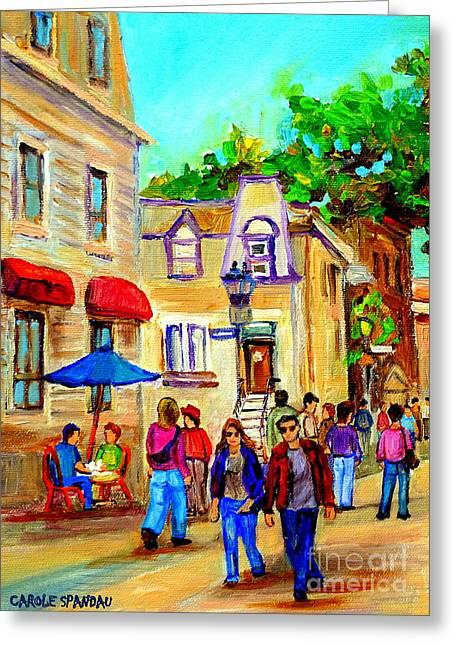 Cozy Dinner Under Blue Umbrella Summer Stroll Prince Arthur Montreal Paintings Carole Spandau Greeting Card by Carole Spandau