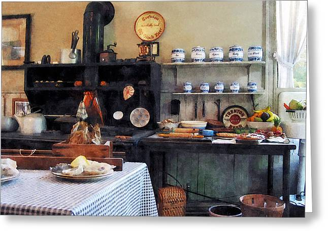 Stove Greeting Cards - Cozy Kitchen Greeting Card by Susan Savad
