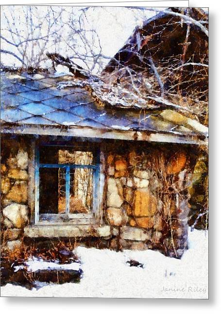 Shack Digital Greeting Cards - Stone barn old Blue window Greeting Card by Janine Riley