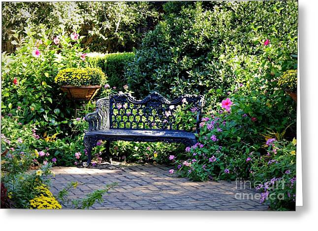 Sit-ins Photographs Greeting Cards - Cozy Southern Garden Bench Greeting Card by Carol Groenen