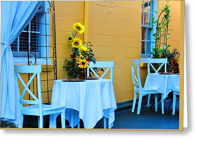 Yellow Sunflower Greeting Cards - Cozy Table For Two Greeting Card by Cynthia Guinn