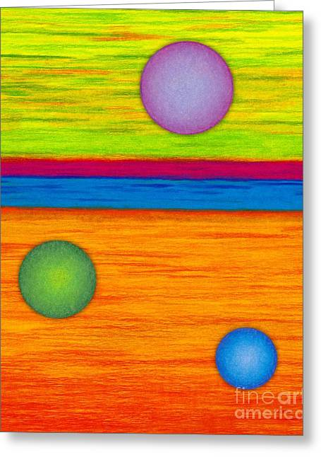 Colored Pencil Abstract Greeting Cards - CP001 Circle Montage Greeting Card by David K Small