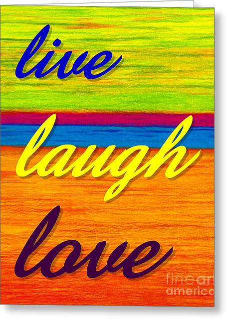Colored Pencil Abstract Greeting Cards - CP001 Live Laugh Love Greeting Card by David K Small