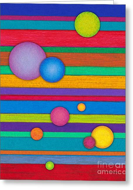 Colored Pencil Abstract Greeting Cards - CP003 Stripes and Circles Greeting Card by David K Small