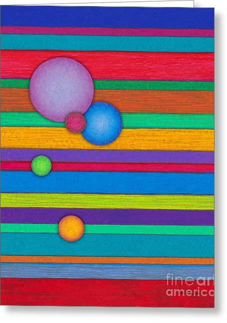 Colored Pencil Abstract Greeting Cards - CP003 Stripes with Circles Greeting Card by David K Small