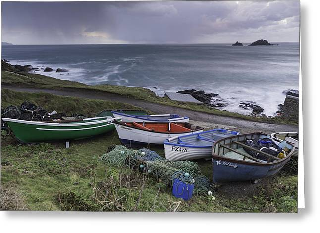 Cape Cornwall Greeting Cards - Cape Cornwall Fishing Boats Greeting Card by Wendy Chapman