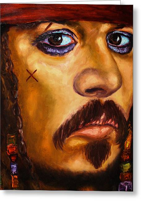 Johnny Depp Poster Greeting Cards - Cpt. Jack Greeting Card by Anthony  Baxton