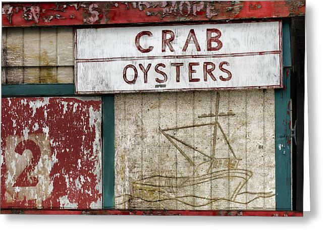 Red Fishing Shack Greeting Cards - Crab and Oysters Greeting Card by Carol Leigh