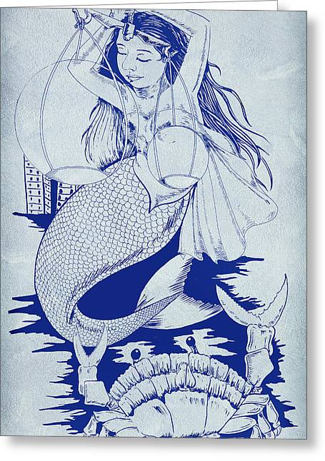 Sleeping Mermaid Greeting Cards - Crab And The Mermaid Greeting Card by Arun Sivaprasad