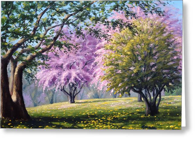 Breezy Greeting Cards - Crab Apple Trees Greeting Card by Rick Hansen