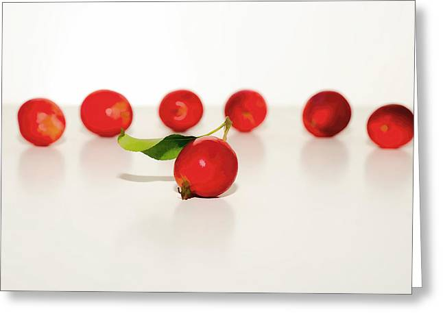Sour Mixed Media Greeting Cards - Crab Apples Greeting Card by Linda Muir