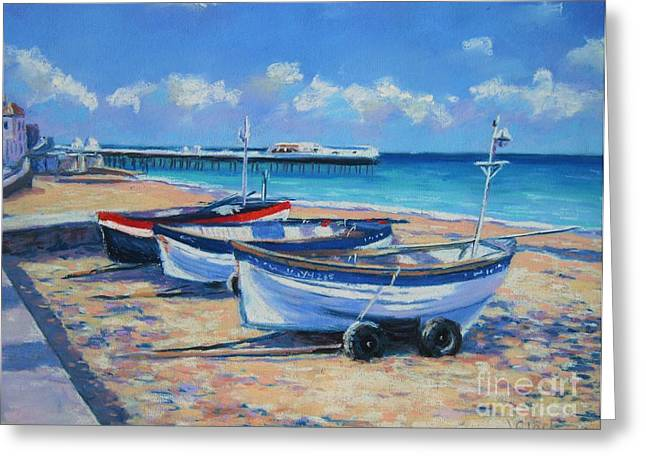 Acrylic Pastels Greeting Cards - Crab Boats on Cromer Beach Greeting Card by John Clark