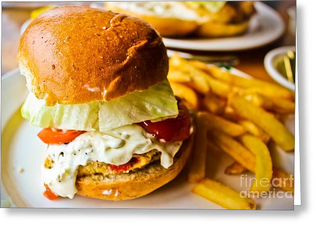 French Fries Greeting Cards - Crab Cake Sandwich Greeting Card by Colleen Kammerer