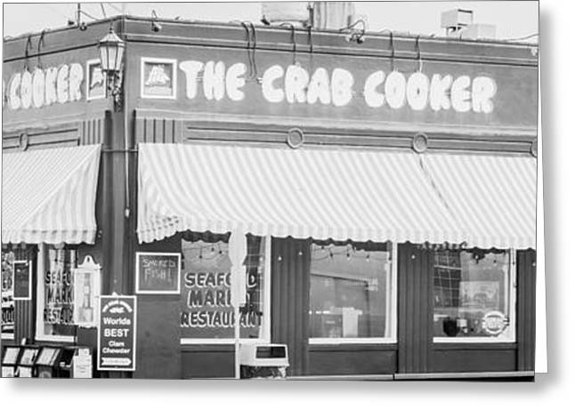 California Beach Art Greeting Cards - Crab Cooker Newport Beach Black and White Photo Greeting Card by Paul Velgos