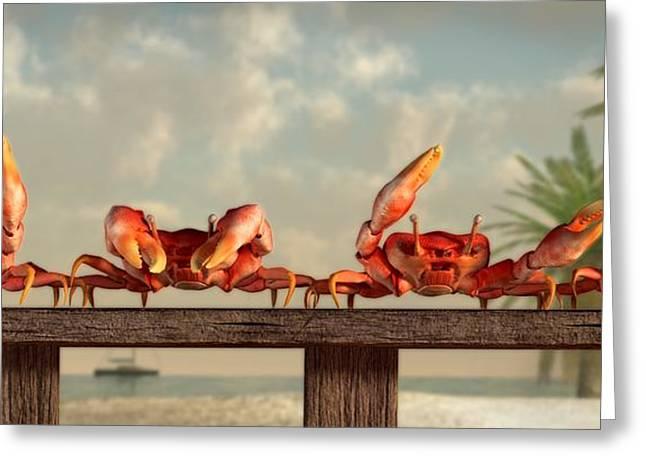 Beach Themed Art Greeting Cards - Crab Dance Greeting Card by Daniel Eskridge