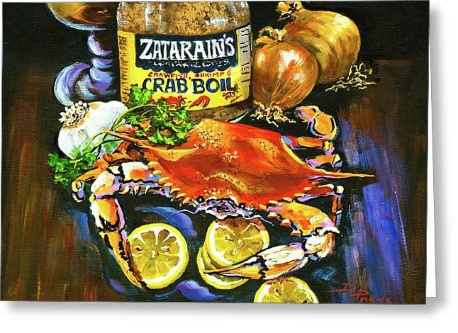 Beer Paintings Greeting Cards - Crab Fixins Greeting Card by Dianne Parks