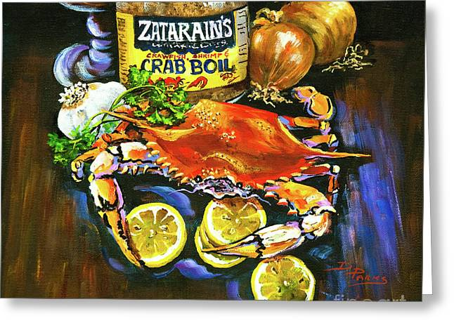 Cajun Greeting Cards - Crab Fixins Greeting Card by Dianne Parks