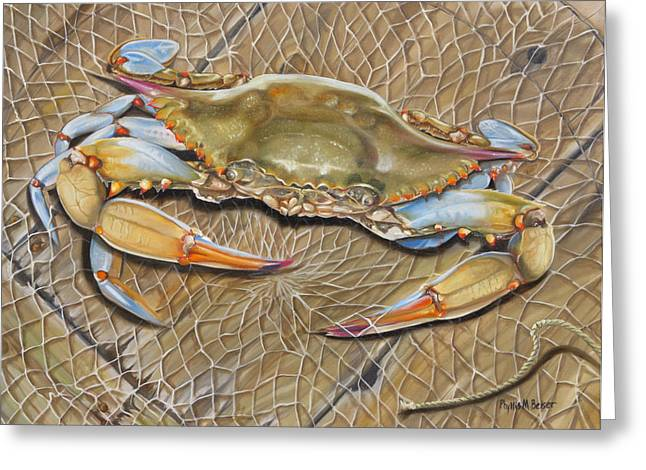 """""""crab Nets"""" Greeting Cards - Crab In A Trap Greeting Card by Phyllis Beiser"""