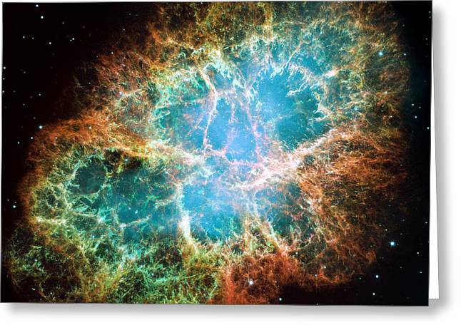 Crab Nebula Greeting Cards - Crab Nebula Greeting Card by NASA and ESA