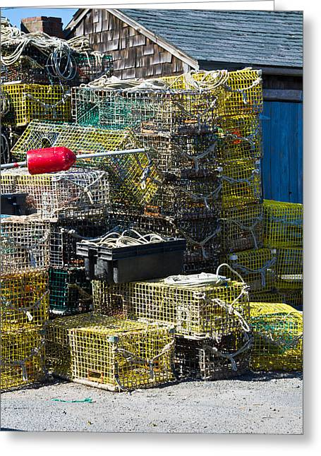 """""""crab Nets"""" Greeting Cards - Crab nets on the dock in coastal New England Greeting Card by John Hoey"""