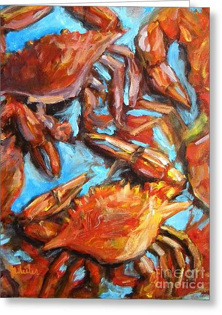 Crawfish Greeting Cards - Crab Pile Greeting Card by JoAnn Wheeler