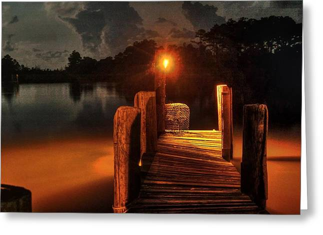 Crab Pot At The End Of The Dock Greeting Card by Michael Thomas