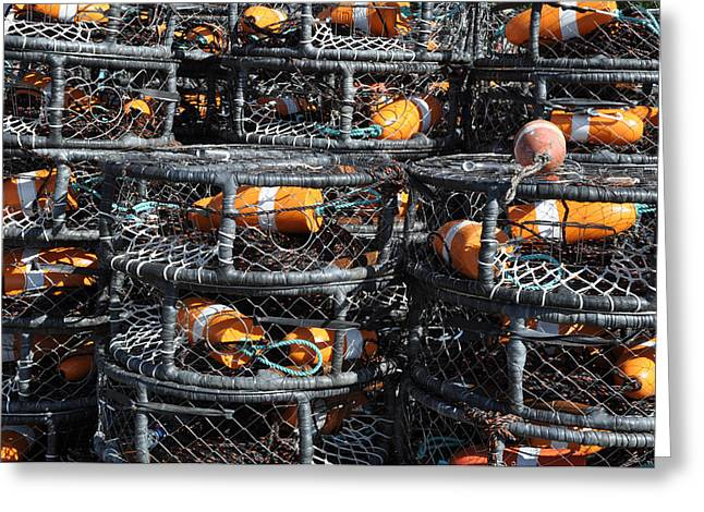 Meshed Photographs Greeting Cards - Crab Pots Greeting Card by Brandon Bourdages