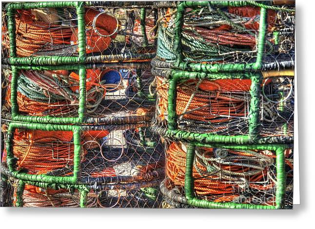 Meshed Photographs Greeting Cards - Crab Pots Greeting Card by   FLJohnson Photography