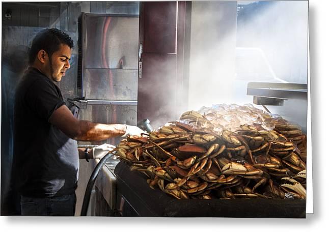 Photo Realism Greeting Cards - Crab Seller at Fishermans Wharf  Greeting Card by Dorothy Walker