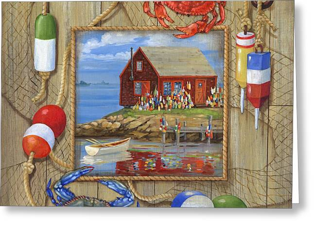 Yellow Sailboats Greeting Cards - Crab Shack Collage Greeting Card by Paul Brent