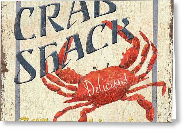 Vintage Greeting Cards - Crab Shack Greeting Card by Debbie DeWitt