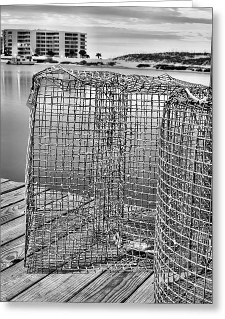 Crab Traps Greeting Cards - Crab Traps Black and White Greeting Card by JC Findley