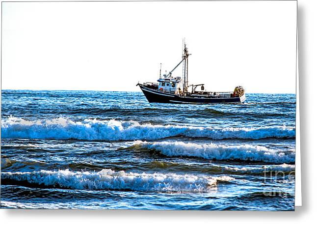 Wave Sublime Greeting Cards - Crabbing Greeting Card by Robert Bales