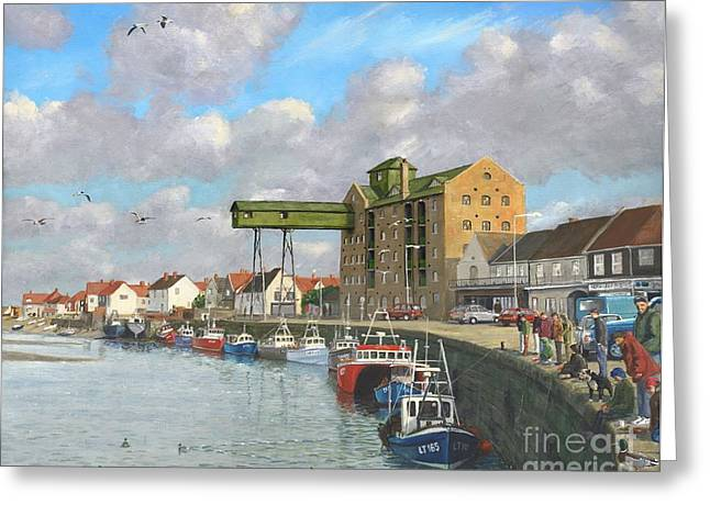 Industrial Landscape Greeting Cards - Crabbing Wells Next the Sea Norfolk Greeting Card by MGL Meiklejohn Graphics Licensing