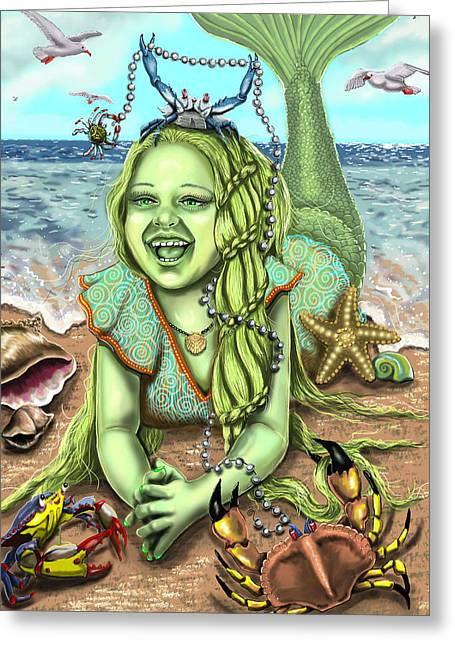 Star Fish Drawings Greeting Cards - Crabby Patricia and Friends Greeting Card by Cheryl Johnson