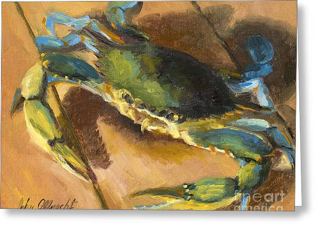 Blue Crab Greeting Cards - Crabby Too Greeting Card by John Albrecht