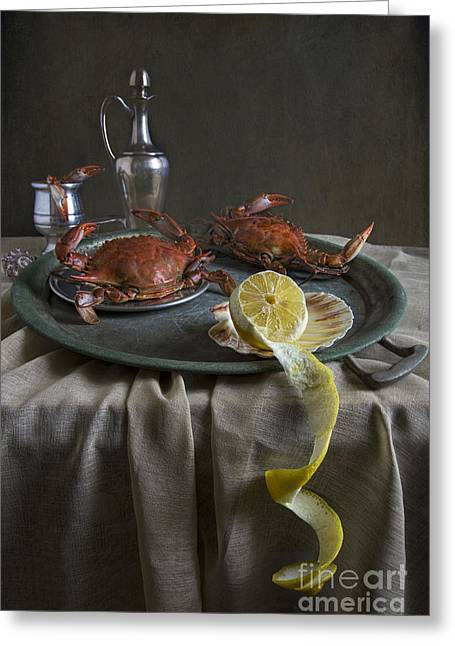 Tabletop Greeting Cards - Crabs For Dinner Greeting Card by Elena Nosyreva