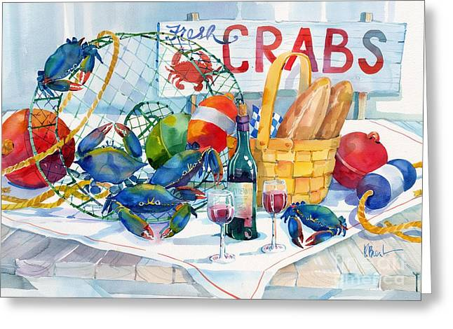 Lobster Buoy Greeting Cards - Crabs Galore Greeting Card by Paul Brent
