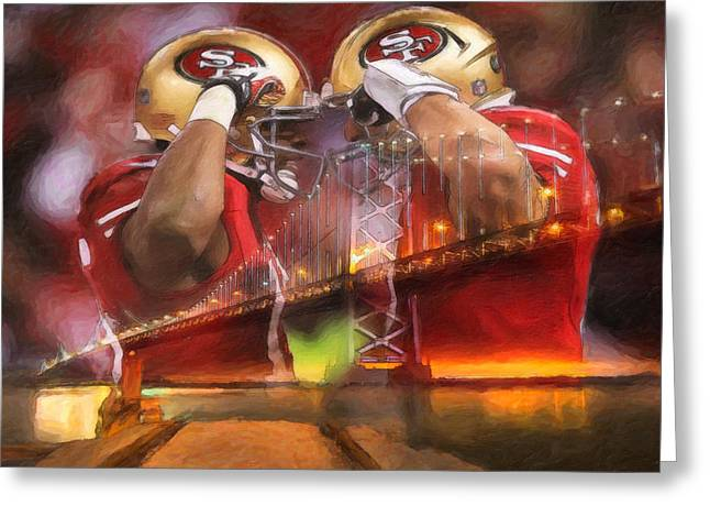 National Football League Paintings Greeting Cards - Crabtree and Kaepernick Salute Greeting Card by John Farr