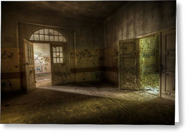 Haunted House Digital Greeting Cards - Crack of light Greeting Card by Nathan Wright