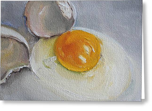 Over Easy Greeting Cards - Cracked Egg Greeting Card by Kristine Kainer