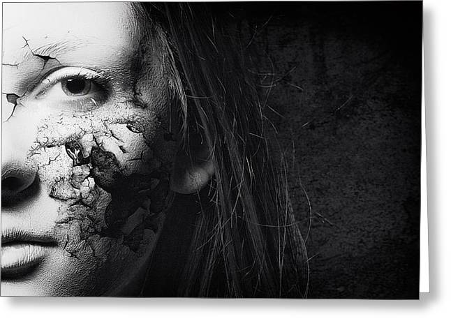 Eyelash Greeting Cards - Cracked Face Greeting Card by Erik Brede
